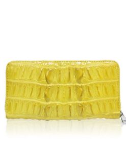 Crocodile Round Zipper Purse, Yellow