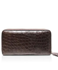Crocodile Two Round Zipper Purse, Brown