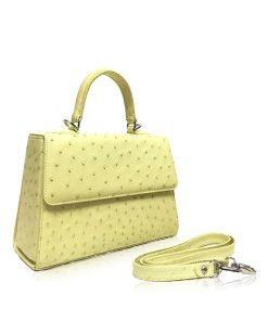 Goldmas Ostrich Leather, Lemon, Size 25