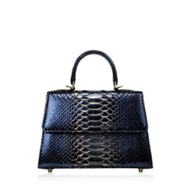 """Goldmas"" Python Leather Handbag, 2tone Black & Gold, Size 25"