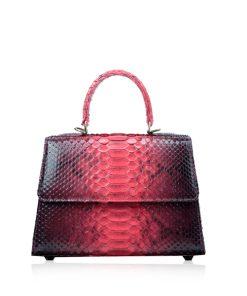 Goldmas Python Leather Handbag, 2tone Black & Red, Size 25