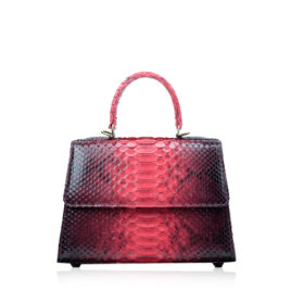 Goldmas Python Leather Handbag, 2tone Black & Red, Size 25