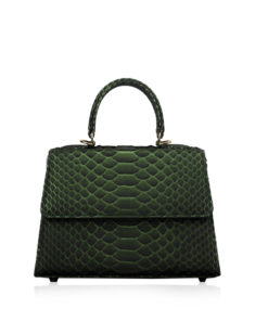 Goldmas Python Leather Handbag, Olive Green, Size 25