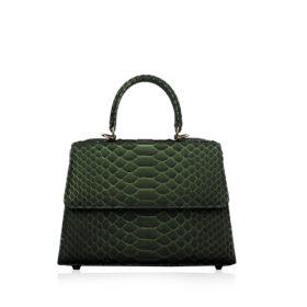 Goldmas Python Leather Handbag, Olive Green, Size 25