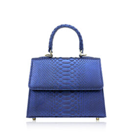 """Goldmas"" Python Leather Handbag, Shiny Blue, Size 21"