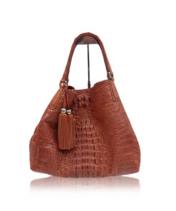 Hussal Crocodile Hornback Leather Tassel Hobo Bag