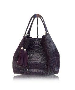 Hussal Crocodile Hornback Leather Tassel Hobo Bag