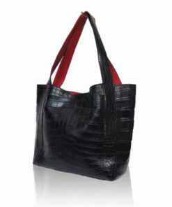 Jasper Crocodile Leather Tote Bag, Black