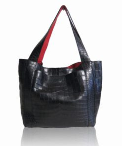 Jasper Crocodile Leather Tote Bag, Black