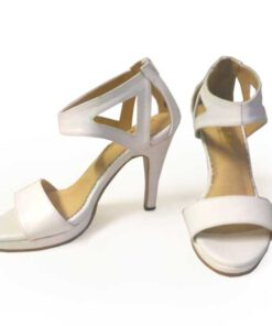 Lamb Leather High Heel Sandal, White