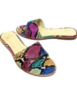 Python Back Leather Flat Sandal, Multi Color