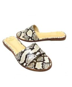 Python Back Leather Flat Sandal, Natural