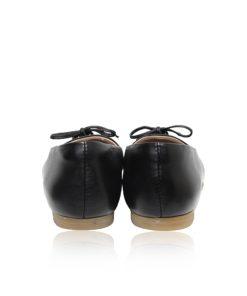 Python & Lamb Leather Ballerina, Black