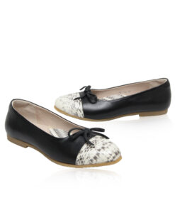Python & Lamb Leather Ballerina, Black