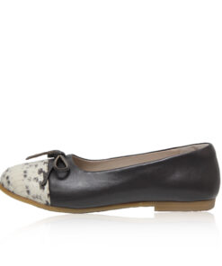 Python & Lamb Leather Ballerina, Grey