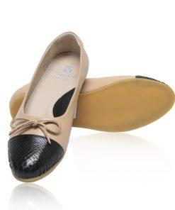 Python & Lamb Leather Ballerina, Latte