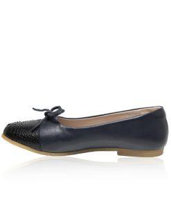 Python & Lamb Leather Ballerina, Navy Blue