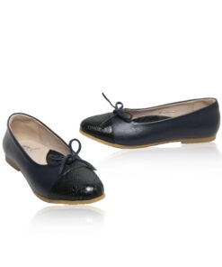 Python & Lamb Leather Ballerina, Navy Blue