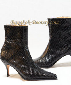 Python Leather Ankle Boot, Black