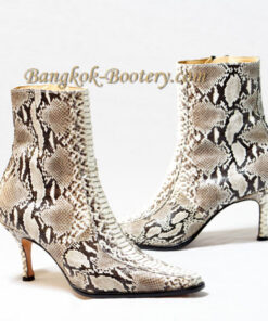 Python Leather Ankle Boot, Natural