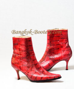 Python Leather Ankle Boot, Red & Black