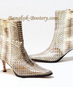 Python Leather Ankle Boot, White Himalayan