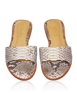 Python Leather Flat Sandal, Natural