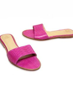 Python Leather Flat Sandal, Pink