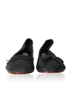 Python Leather Flat Shoes, Black