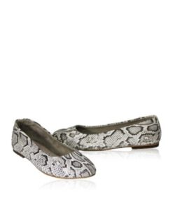 Python Leather Flat Shoes, Natural