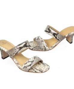 Python Leather Heel Sandal, Natural