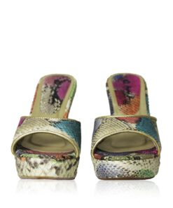 Python Leather High Heel Sandal, Multi Color