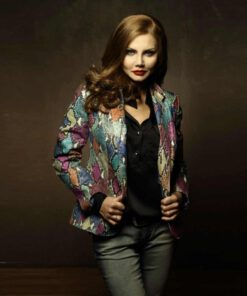 Python Leather Jacket For Women, Multi Color