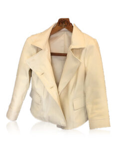 Python Leather Jacket, White