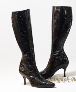 Python Leather Knee High Boot, Black