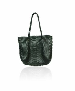 Python Leather Shopping Bag, Black