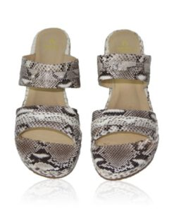 Python Leather Slide Sandal, Natural
