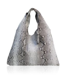 Python Leather Tote Bag, Natural
