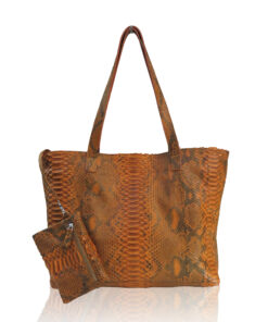 Python Leather Tote Bag, Orange