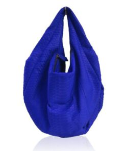 Python Leather Tote Bag, Royal Blue