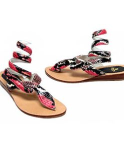 Python Leather Wrap Around Sandal, Multi Color