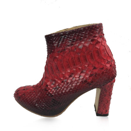 Python Leather Zipper Ankle Boot, Red