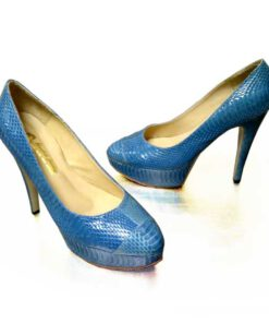 Sea Snake Leather High Heel Pump Shoes, Blue