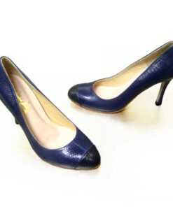 Sea Snake Leather Pump Shoes, Navy Blue