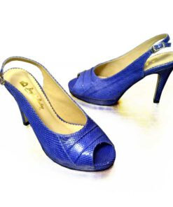 Snake Leather Ankle Strap Pump Shoes, Blue