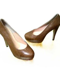 Snake Leather Pump Shoes, Brown
