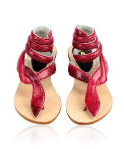 Snake Leather Wrap Around Sandal, Red