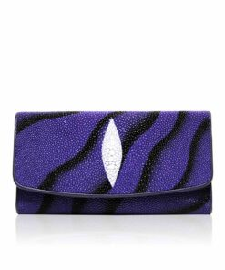 Stingray Leather Purse, Violet & Black