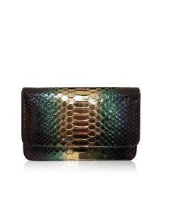 Barzaar Metallic (GoldGreenBlack) Python Clutch Bag