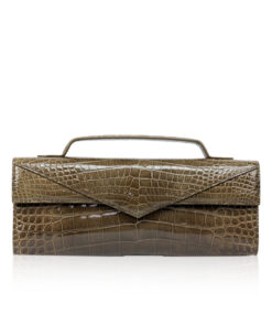 Crocodile Clutch Bag GORNER, Shiny Brown